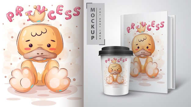 Cute bird poster and merchandising