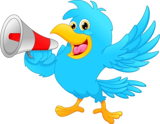 Cute bird screaming into a megaphone