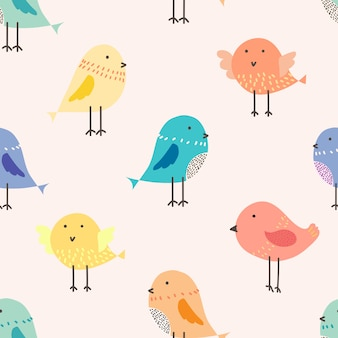 Cute bird seamless pattern background