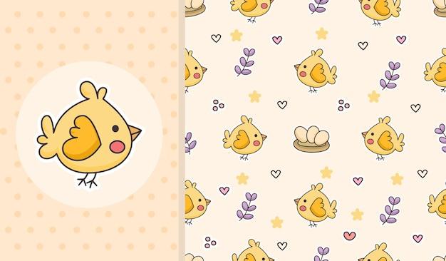 かわいい鳥のシームレスなパターンデザイン漫画