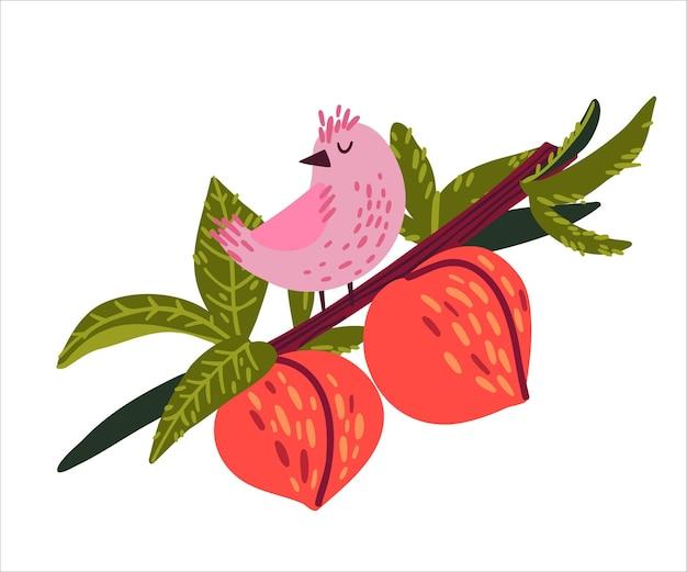 桃の花と枝に座っているかわいい鳥落書き手描きスタイル