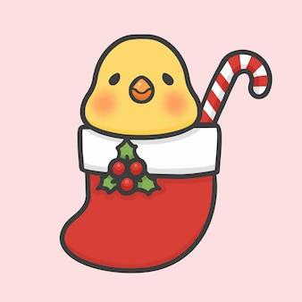 Cute bird in sock christmas hand drawn cartoon