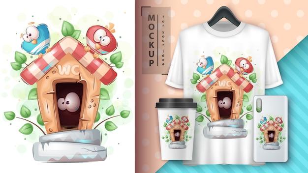 Cute bird in toilet poster and merchandising.