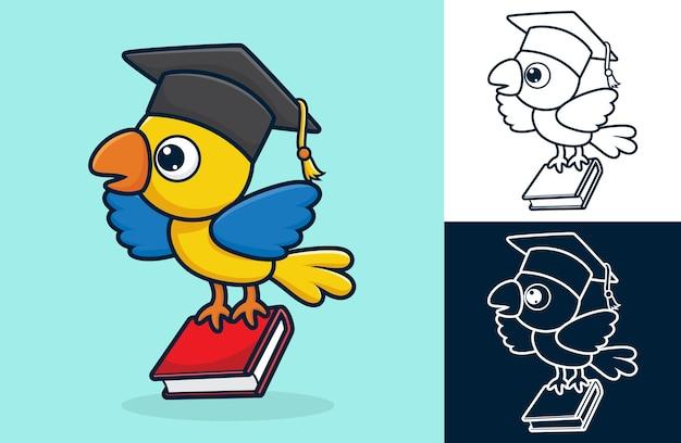 발에 책을 들고 졸업 모자를 쓰고 귀여운 새. 평면 아이콘 스타일의 만화 그림