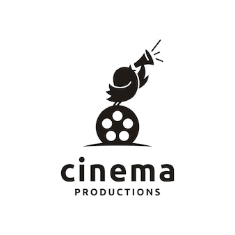 Cute bird with film equipments. good logo design for move maker / cinematography