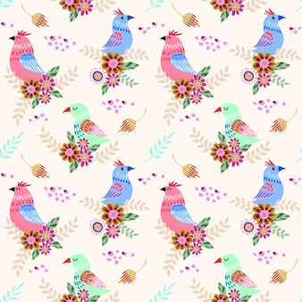 Cute bird with flowers seamless pattern for fabric textile wallpaper.