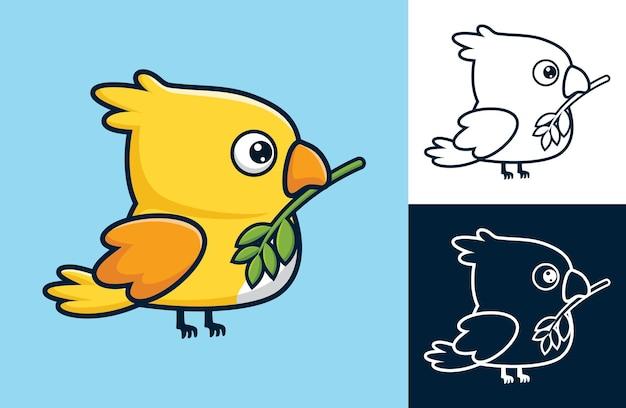 부리에 잎이 달린 귀여운 새. 평면 아이콘 스타일의 벡터 만화 일러스트 레이 션