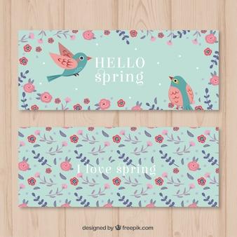 Милые птицы между цветами баннеров