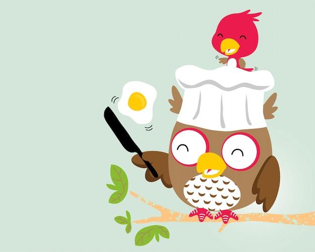 Cute birds cartoon cooking