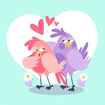 Cute birds couple illustrated