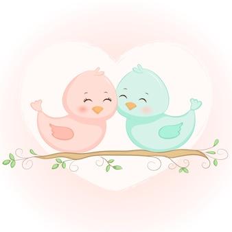사랑 발렌타인 데이에 귀여운 새 부부