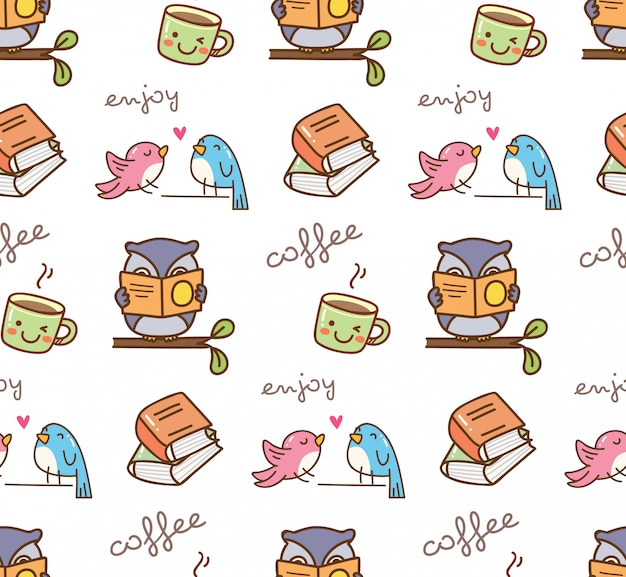 Cute birds enjoy coffee seamless background