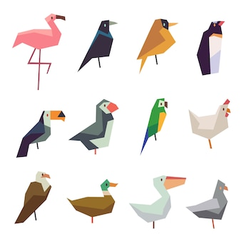 Cute birds flat icons set