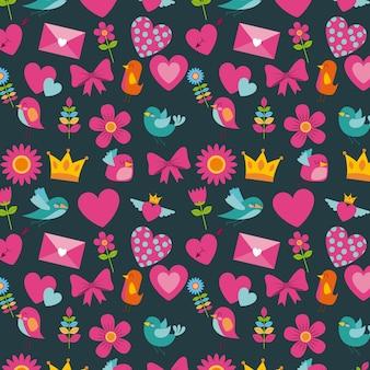Cute birds heart flower envelope bow crown pattern