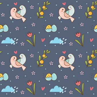 Cute birds seamless background