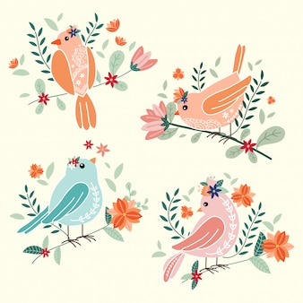 Cute birds with flowers vector illustration