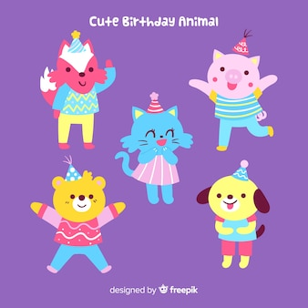 Cute birthday animal background