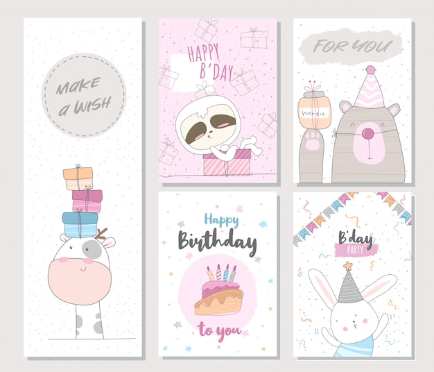 Cute birthday animal invitation card for kids