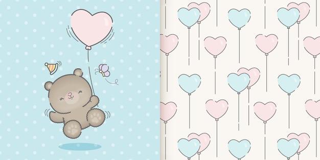 かわいい誕生日のクマのカードとシームレスなパターン