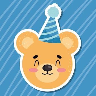 Cute birthday bear illustration design