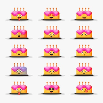 Cute birthday cake with emoticons set