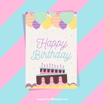 Cute birthday card in flat design
