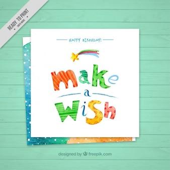 Carta di compleanno carino di esprimere un desiderio