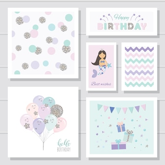 Cute birthday card templates set for girls.