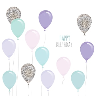 Cute birthday card with balloons.