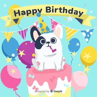 Cute birthday card with dog on a cake