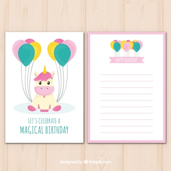 Cute birthday card with unicorn and balloons