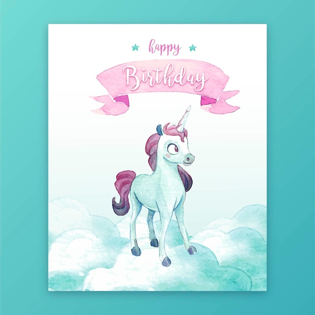 Cute birthday card with unicorn