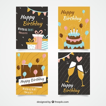 Cute birthday cards set