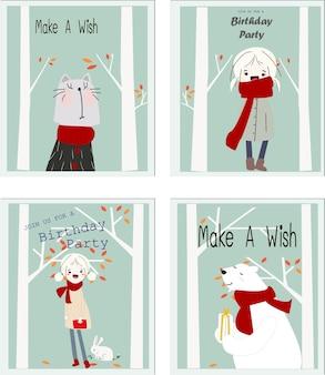 Симпатичная карточка мультфильма дня рождения