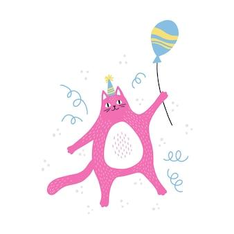 Милый котик именинника с воздушным шаром. hand нарисованные векторные иллюстрации для поздравительной открытки.