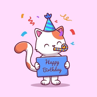 Cute birthday cat with confetti cartoon icon illustration. animal birthday icon concept isolated premium . flat cartoon style