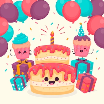 Cute birthday characters illustrated