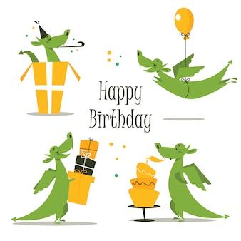 Cute birthday dragon, vector illustration