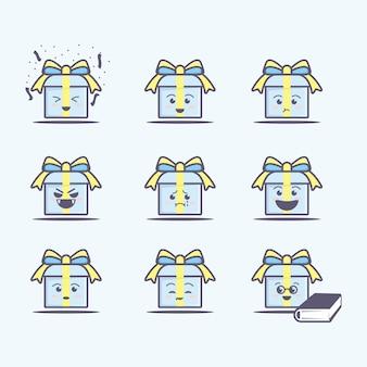 Cute birthday gift box character icon, flat cartoon style