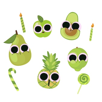 Cute  birthday illustration vegetable & fruit
