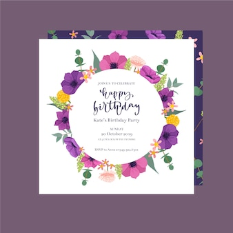 Cute birthday invitation with flowers