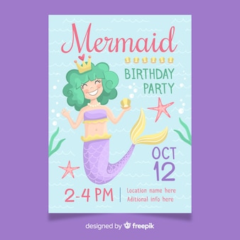 Cute birthday invitation with hand drawn mermaid