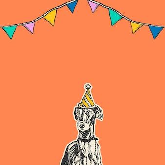파티 콘 모자에 빈티지 그레이하운드 강아지와 함께 귀여운 생일 오렌지 배경