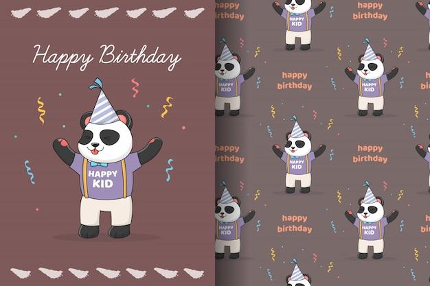 Симпатичная панда на день рождения бесшовные модели и карты