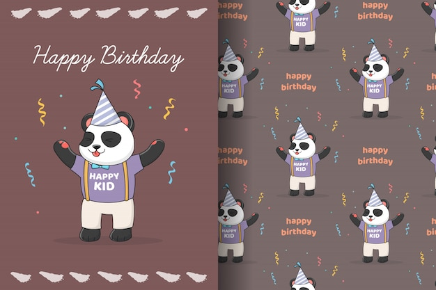 Cute birthday panda seamless pattern and card