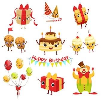 かわいい誕生日パーティーのお祝い関連オブジェクトの文字セット