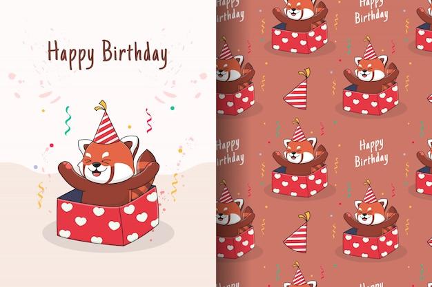 Cute birthday red panda seamless pattern and card