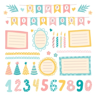 Cute birthday scrapbook elements