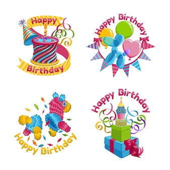 Cute birthday stickers collection
