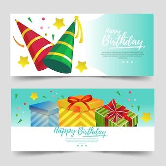 Милый баннер темы дня рождения с бирюзовым цветом и шляпой